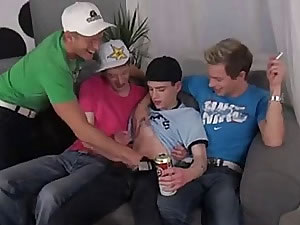 Drunk group sex video of crazy college boys - bukkake and double penetration