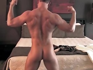 Athletic guy posing naked