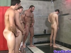 Orgy loving hunks jizzing in the shower