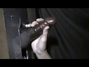 Thick Black Gloryhole Cumming Cock